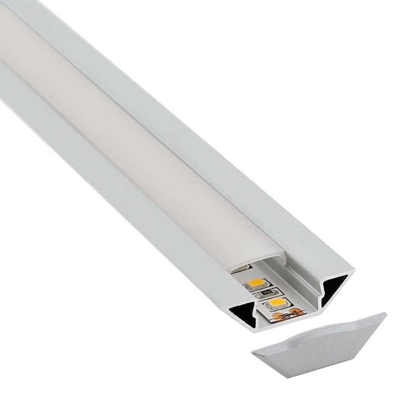 Perfil aluminio SINGE para tiras LED, 2 metros